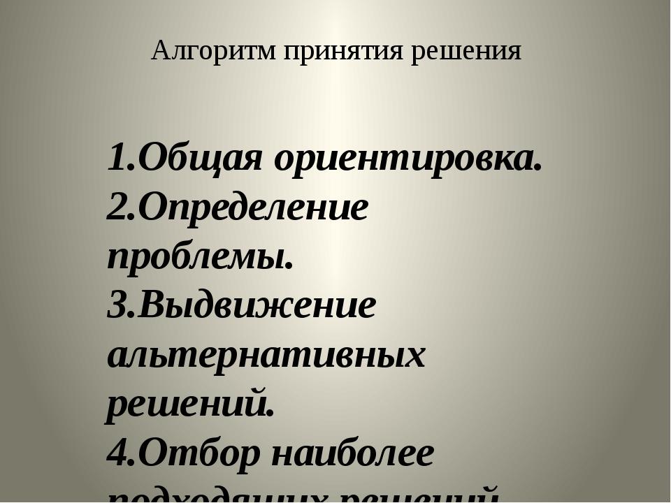 Алгоритм принятия решения 1.Общая ориентировка. 2.Определение проблемы. 3.Выд...