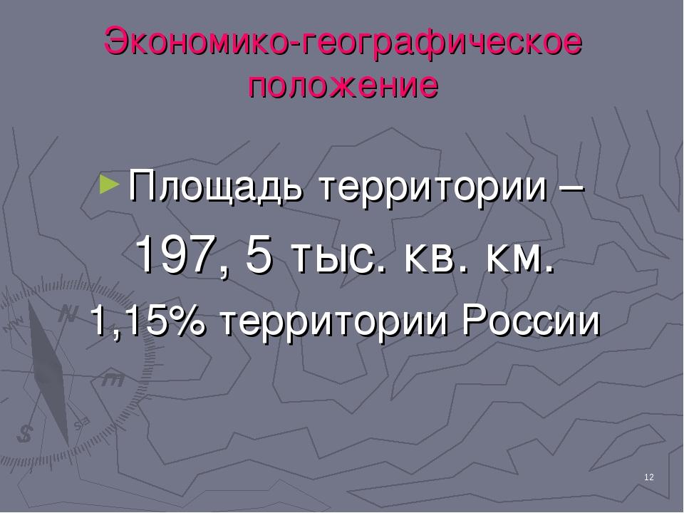 * Экономико-географическое положение Площадь территории – 197, 5 тыс. кв. км....