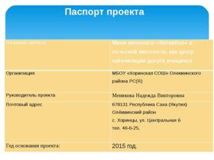 Паспорт проекта Название проекта Мини кинотеатр «Sensation» в сельской местно