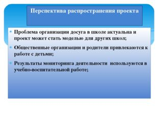Перспектива распространения проекта Проблема организации досуга в школе актуа