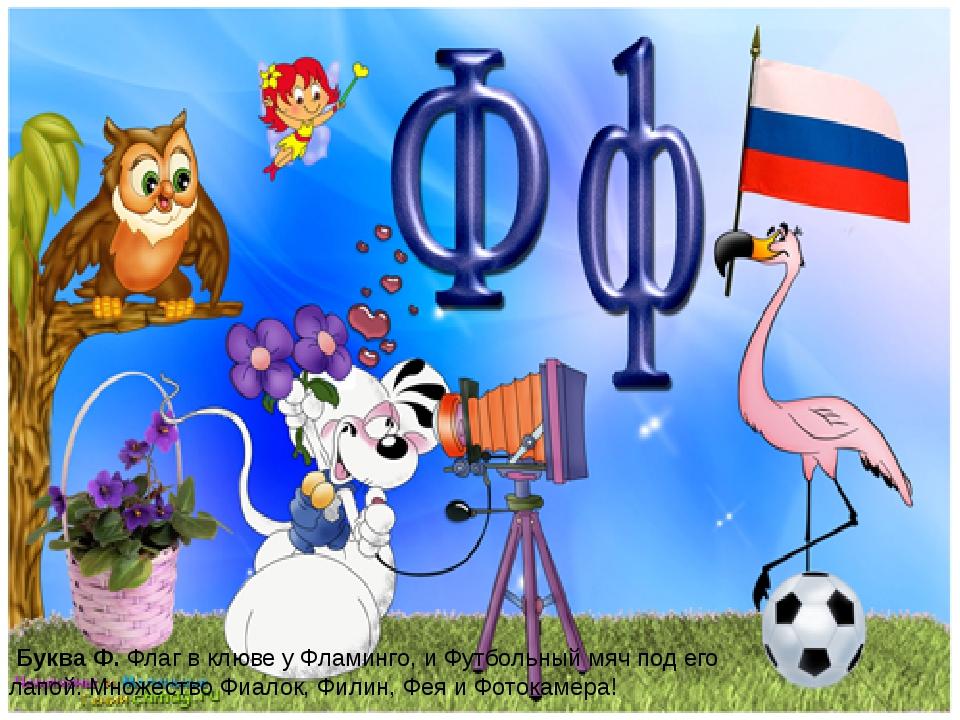 Буква Ф.Флаг в клюве у Фламинго, и Футбольный мяч под его лапой. Множество...
