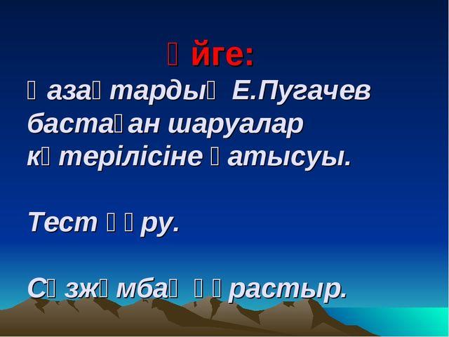 Үйге: Қазақтардың Е.Пугачев бастаған шаруалар көтерілісіне қатысуы. Тест құр...