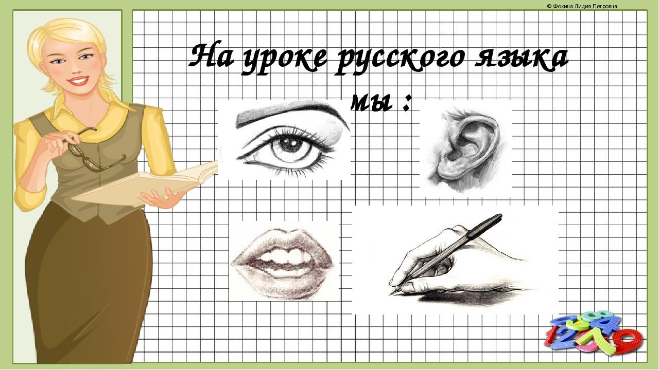 На уроке русского языка мы : © Фокина Лидия Петровна