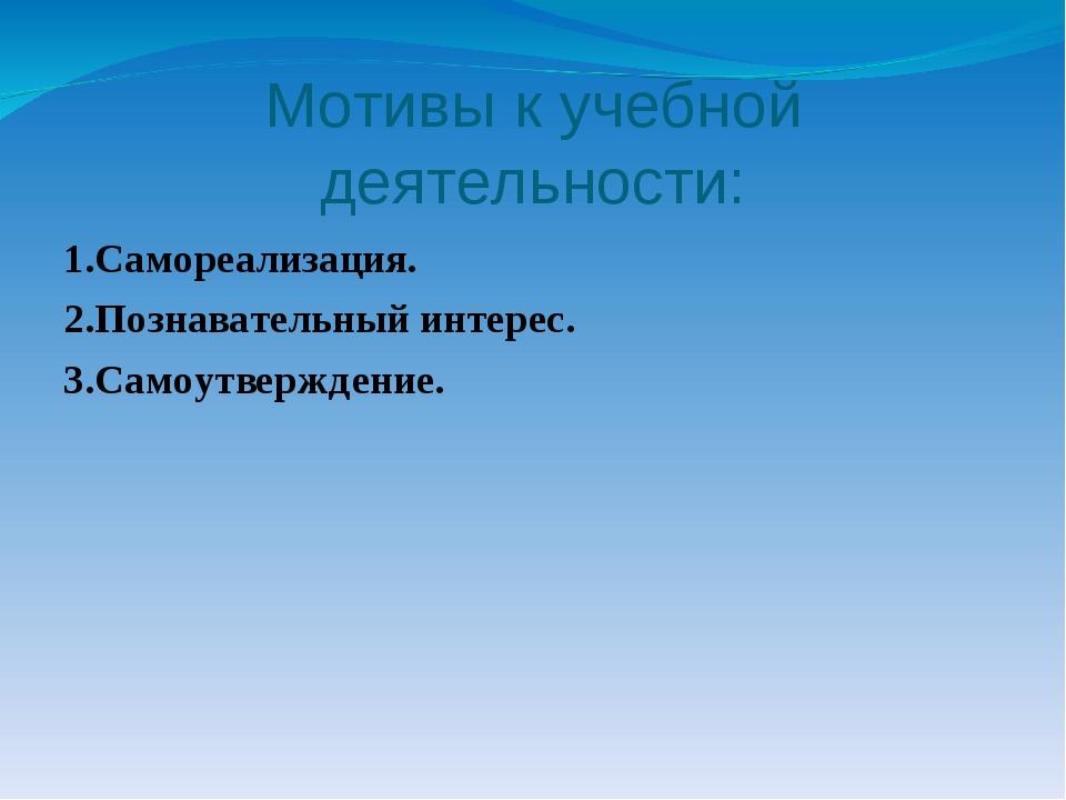 Мотивы к учебной деятельности: 1.Самореализация. 2.Познавательный интерес. 3....