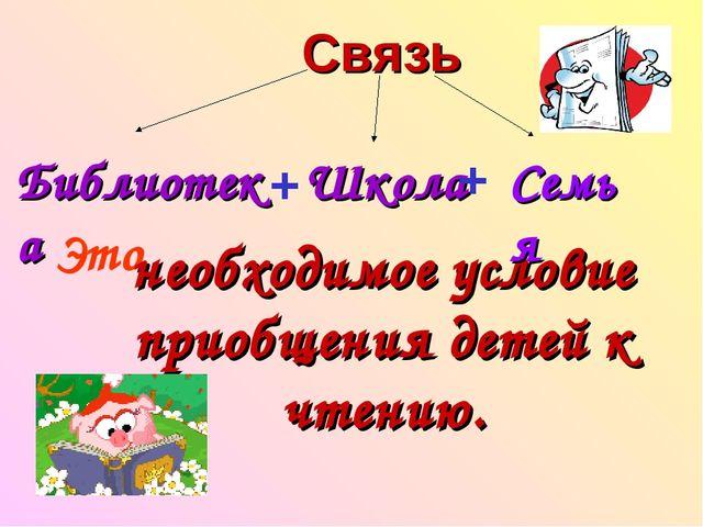Связь Библиотека + Школа Это необходимое условие приобщения детей к чтению. +...