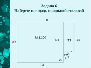 Задача 6 Найдите площадь школьной столовой 16 9,3 2 1,5 1 1,5 13 12,3 М 1:100