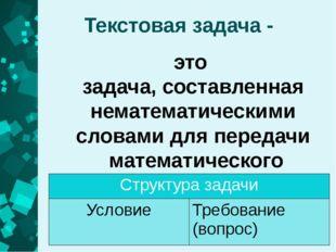 Текстовая задача - это задача, составленная нематематическими словами для пер