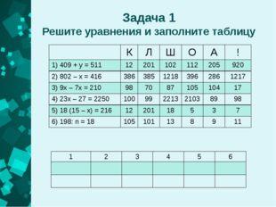 Задача 1 Решите уравнения и заполните таблицу К Л Ш О А ! 1) 409+y= 511 12 20