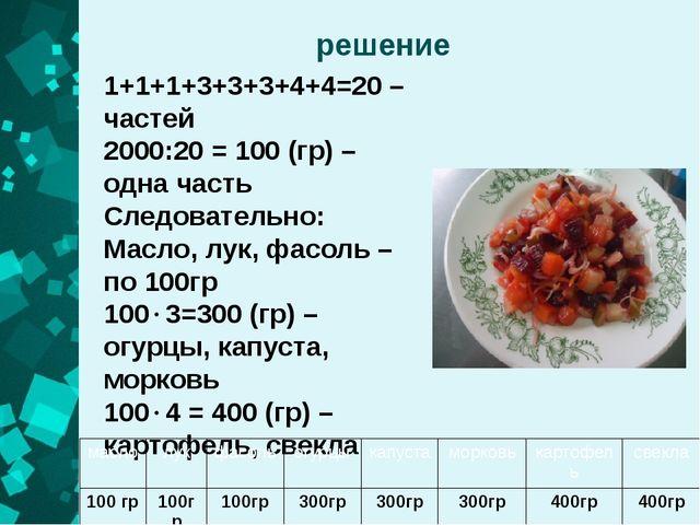 решение 1+1+1+3+3+3+4+4=20 – частей 2000:20 = 100 (гр) – одна часть Следовате...