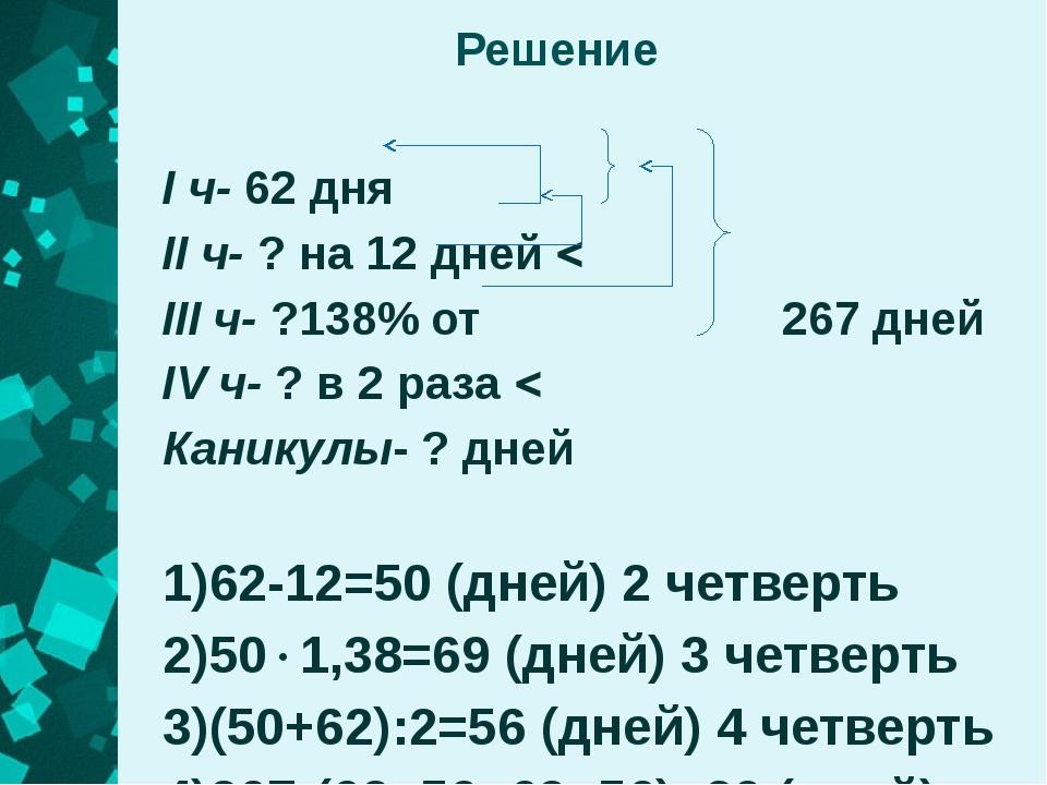 Решение I ч- 62 дня II ч- ? на 12 дней   III ч- ?138% от  267 дней IV ч- ?...