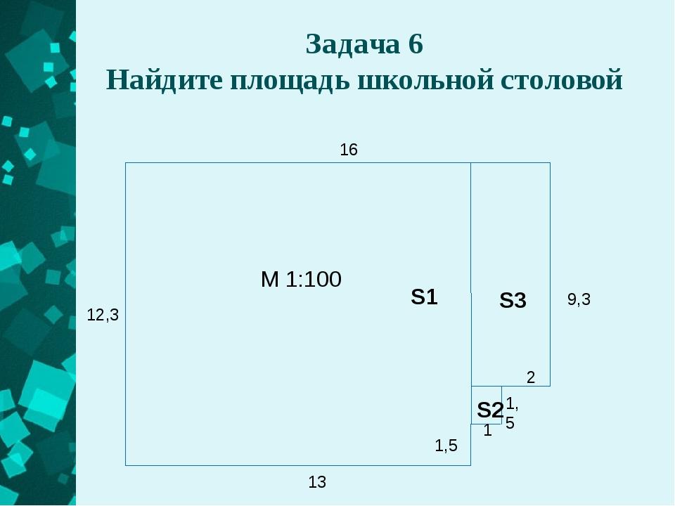Задача 6 Найдите площадь школьной столовой 16 9,3 2 1,5 1 1,5 13 12,3 М 1:100...