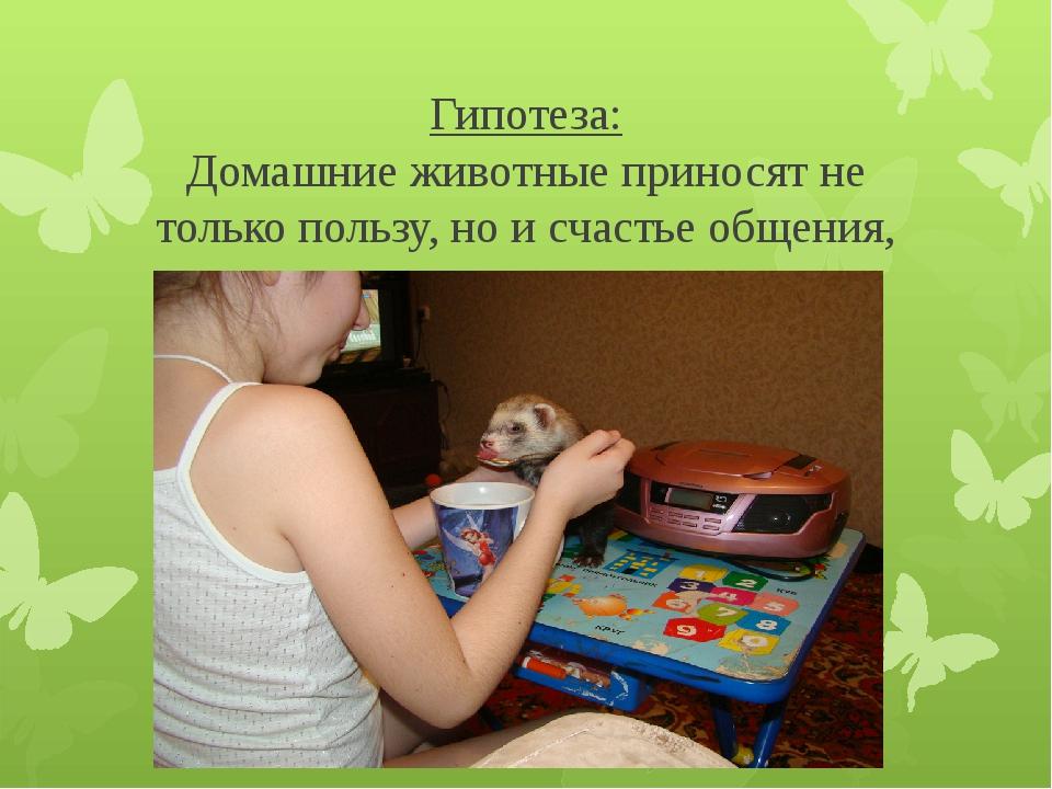 Гипотеза: Домашние животные приносят не только пользу, но и счастье общения,...