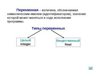 Переменная – величина, обозначаемая символическим именем (идентификатором),