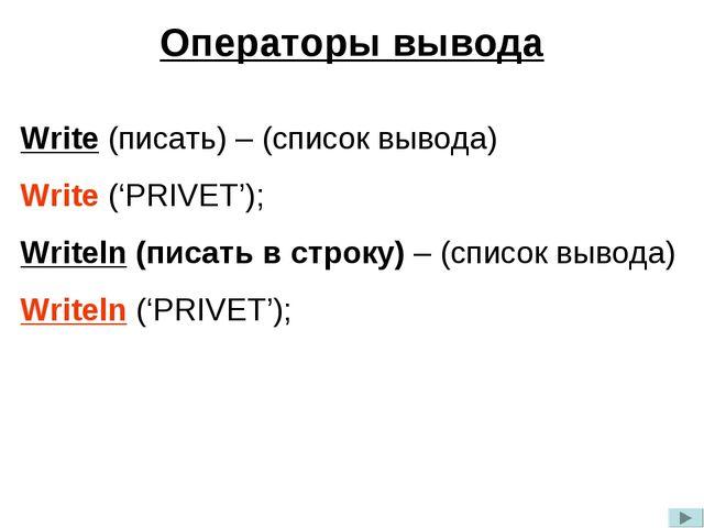 Операторы вывода Write (писать) – (список вывода) Write ('PRIVET'); Writeln (...