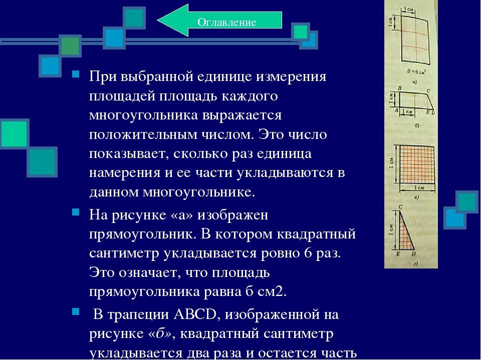 При выбранной единице измерения площадей площадь каждого многоугольника выраж...