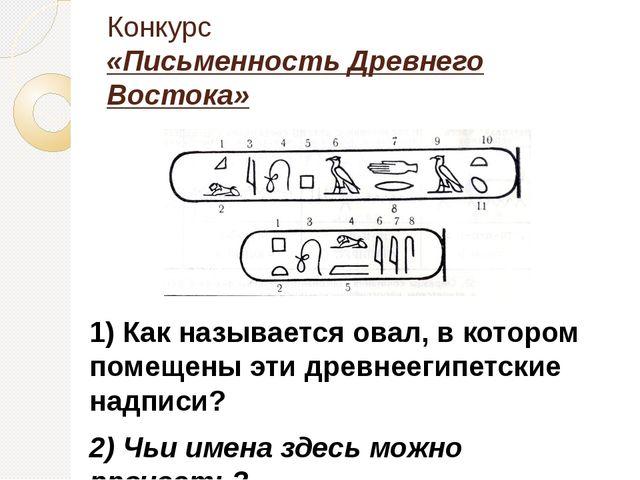 1) Как называется овал, в котором помещены эти древнеегипетские надписи? 2) Ч...