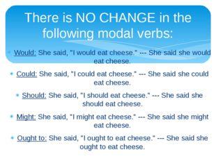 "Would: She said, ""I would eat cheese."" --- She said she would eat cheese. Cou"