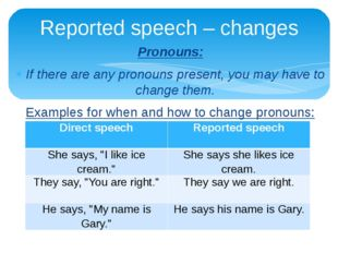 Pronouns: If there are any pronouns present, you may have to change them. Exa