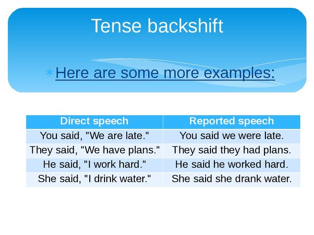 Here are some more examples: Tense backshift Direct speech Reported speech Yo...