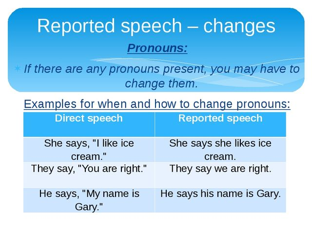 Pronouns: If there are any pronouns present, you may have to change them. Exa...