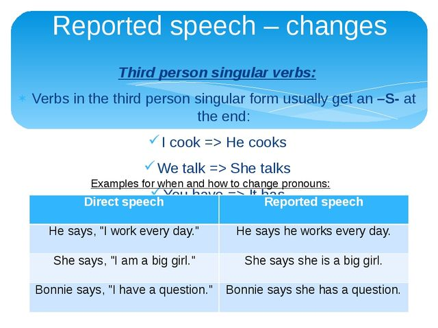 Third person singular verbs: Verbs in the third person singular form usually...