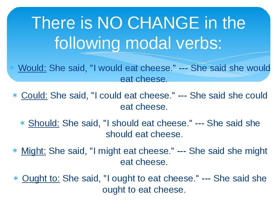 "Would: She said, ""I would eat cheese."" --- She said she would eat cheese. Cou..."