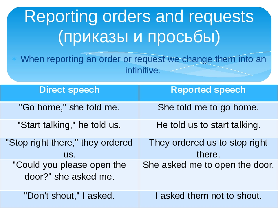 When reporting an order or request we change them into an infinitive. Reporti...