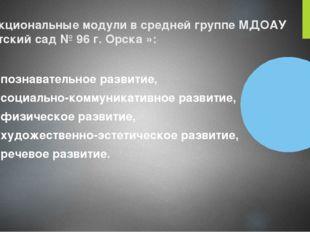 Функциональные модули в средней группе МДОАУ «Детский сад № 96 г. Орска »: по