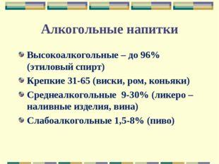 Алкогольные напитки Высокоалкогольные – до 96% (этиловый спирт) Крепкие 31-65