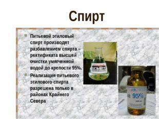 Спирт Питьевой этиловый спирт производят разбавлением спирта – ректификата вы