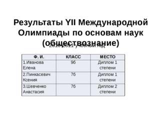 Результаты YII Международной Олимпиады по основам наук (обществознание) 2010-