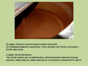 IX этап. Процесс алкализации какао-порошка. Он обрабатывается щелочью. Это де