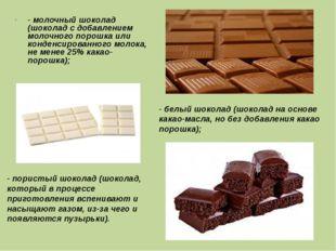 - молочный шоколад (шоколад с добавлением молочного порошка или конденсирован