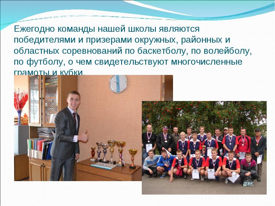 Ежегодно команды нашей школы являются победителями и призерами окружных, райо...