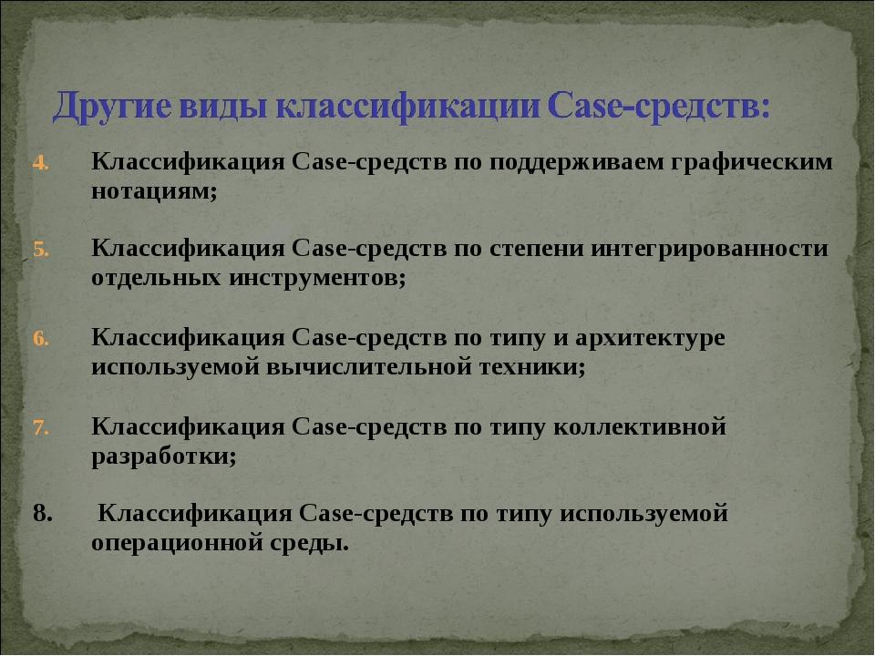 Классификация Case-средств по поддерживаем графическим нотациям; Классификаци...