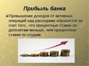 Прибыль банка Превышение доходов от активных операций над расходами образуетс
