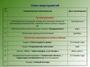 План мероприятий № п/п Наименование мероприятия Дата проведения Организаци
