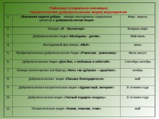 Районные (социально-значимые, патриотические добровольческие акции) мероприя
