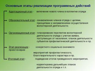 Основные этапы реализации программных действий Адаптационный этап - включение