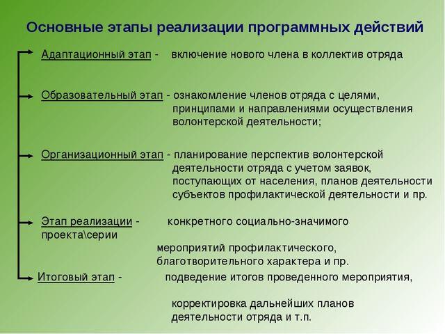 Основные этапы реализации программных действий Адаптационный этап - включение...