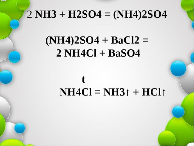2 NH3 + H2SO4 = (NH4)2SO4 (NH4)2SO4 + BaCl2 = 2 NH4Cl + BaSO4 t NH4Cl = NH3↑...