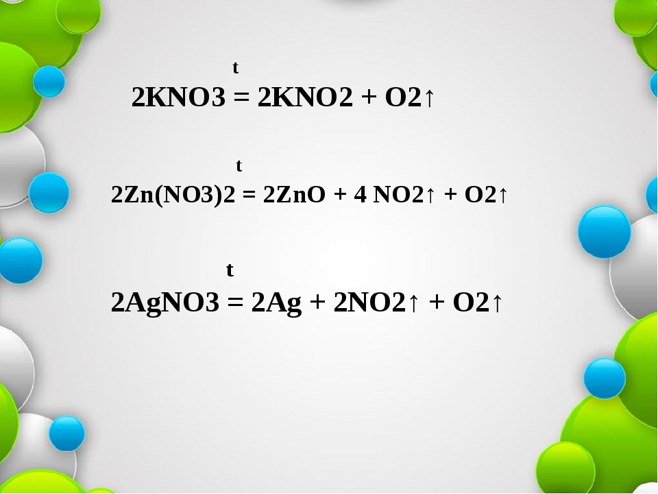 t 2КNO3 = 2KNO2 + O2↑ t 2Zn(NO3)2 = 2ZnO + 4 NO2↑ + O2↑ t 2AgNO3 = 2Ag + 2NO...