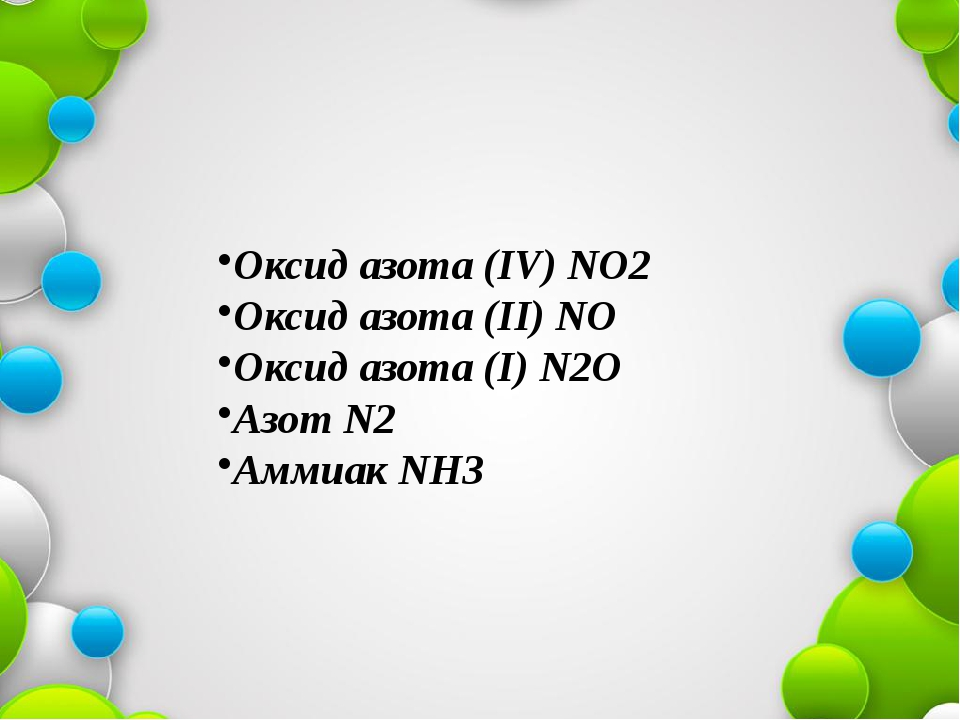 Оксид азота (IV) NO2 Оксид азота (II) NO Оксид азота (I) N2O Азот N2 Аммиак NН3