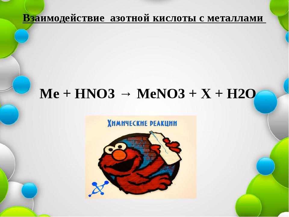 Взаимодействие азотной кислоты с металлами Ме + НNO3 → МеNO3 + Х + Н2О