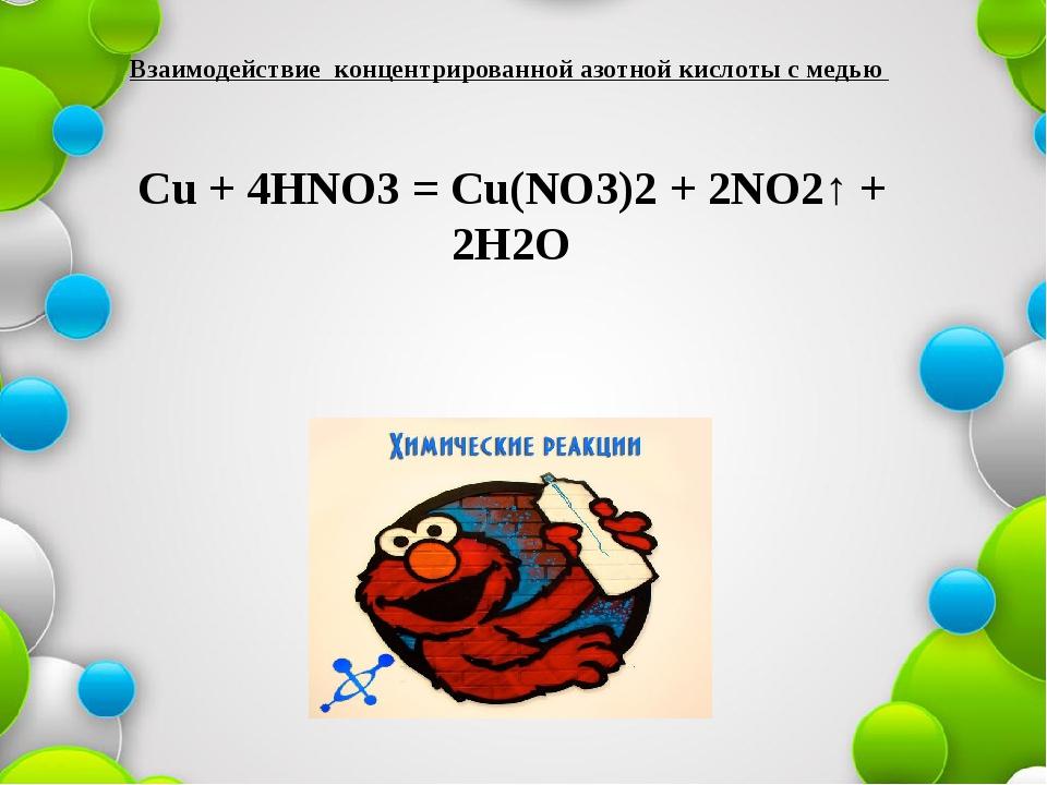 Взаимодействие концентрированной азотной кислоты с медью Cu + 4HNO3 = Cu(NO3)...