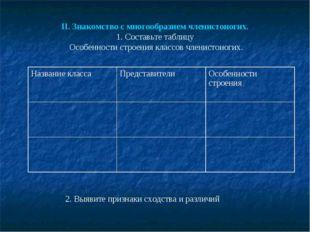 II. Знакомство с многообразием членистоногих. 1. Составьте таблицу Особенност