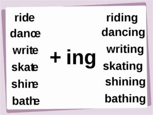 rid e danc e writ e shin e bath e skat e + ing riding dancing writing skating