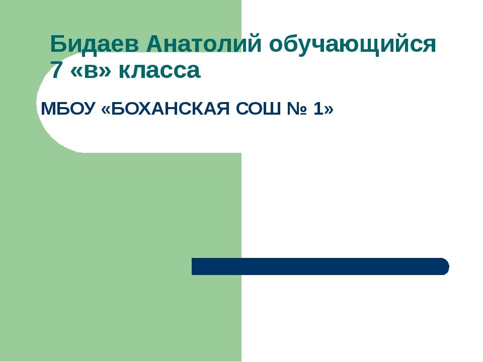 Бидаев Анатолий обучающийся 7 «в» класса МБОУ «БОХАНСКАЯ СОШ № 1»