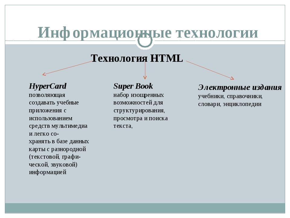 Информационные технологии Технология HTML HyperCard позволяющая создавать уче...