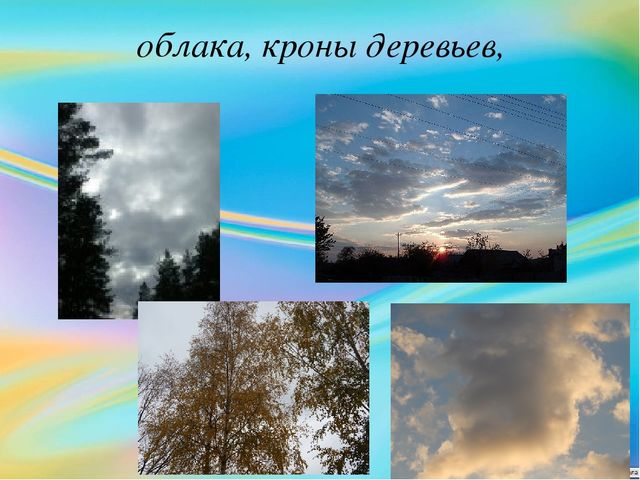 облака, кроны деревьев,